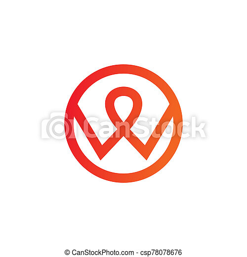 W letter initial icon logo design vector template - csp78078676