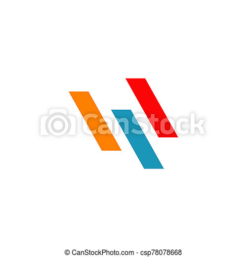 W letter initial icon logo design vector template - csp78078668