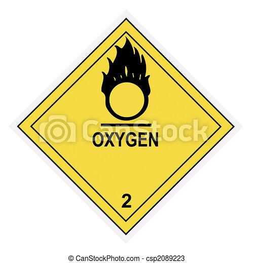 waarschuwend, zuurstof, etiket - csp2089223