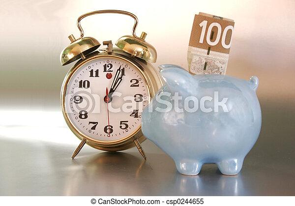 waarschuwing, bank, klok - csp0244655