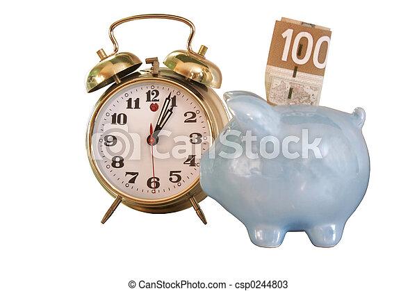 waarschuwing, bank, klok - csp0244803