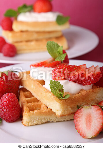 waffle and strawberry - csp6582237