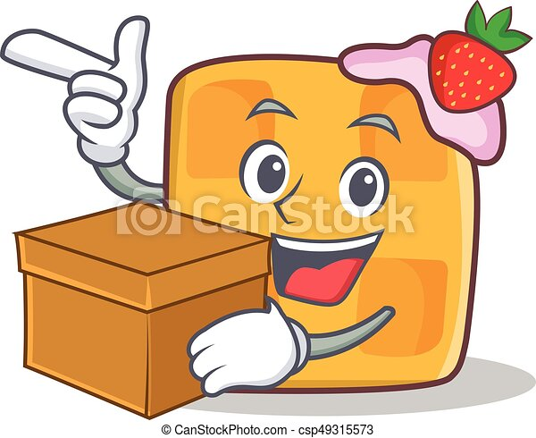 waffle character cartoon design with box - csp49315573
