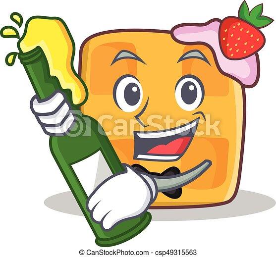 waffle character cartoon design with beer - csp49315563