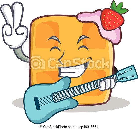 waffle character cartoon design with guitar - csp49315564