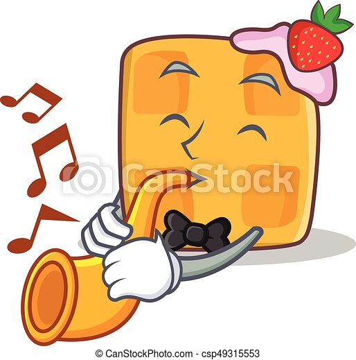 waffle character cartoon design with trumpet - csp49315553