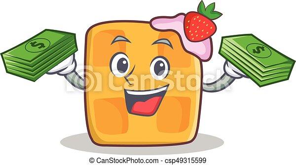 waffle character cartoon design with money - csp49315599