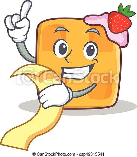 waffle character cartoon design with menu - csp49315541