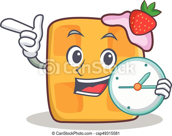 waffle character cartoon design with clock - csp49315581