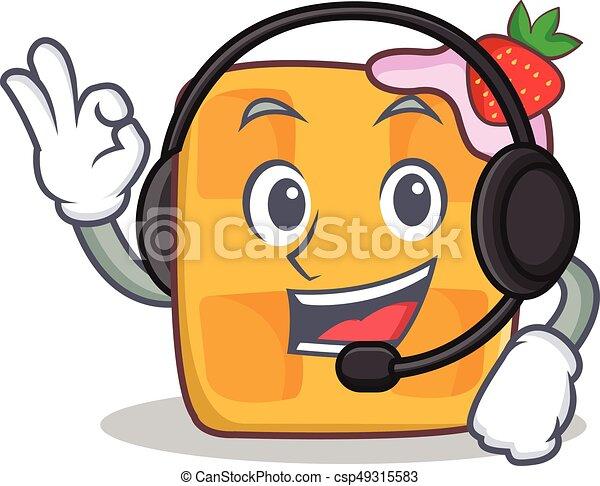 waffle character cartoon design with headphone - csp49315583