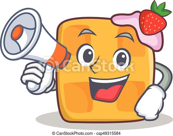 waffle character cartoon design with megaphone - csp49315584