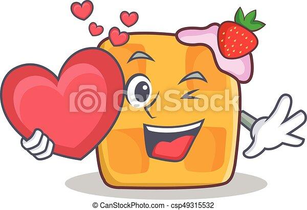 waffle character cartoon design with heart - csp49315532