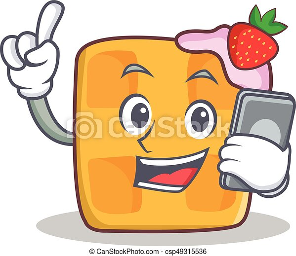 waffle character cartoon design with phone - csp49315536