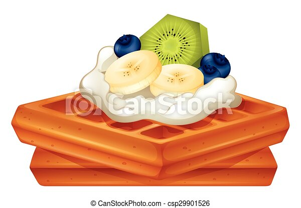 Waffle with cream and fruits - csp29901526