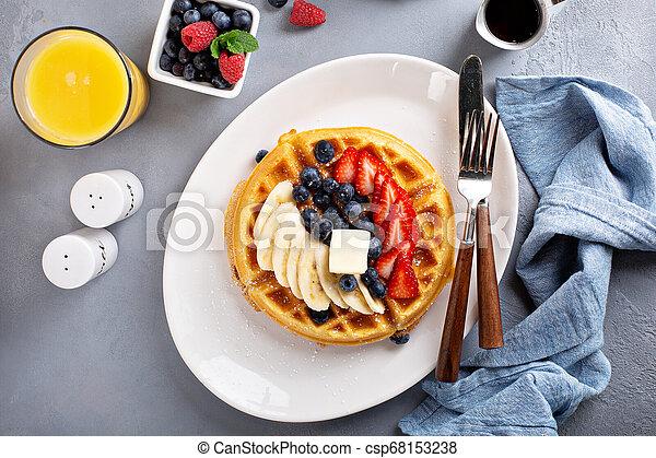 Waffle with fresh fruit - csp68153238