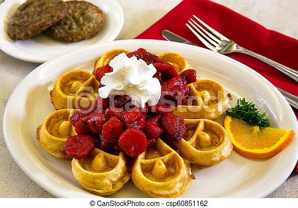Waffle with Fruit - csp60851162