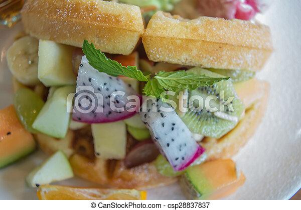 Waffle with mix fruit - csp28837837