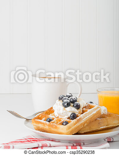 Waffles and Blueberries - csp35290238