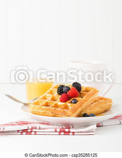 Waffles and Fruit Portrait - csp35285125