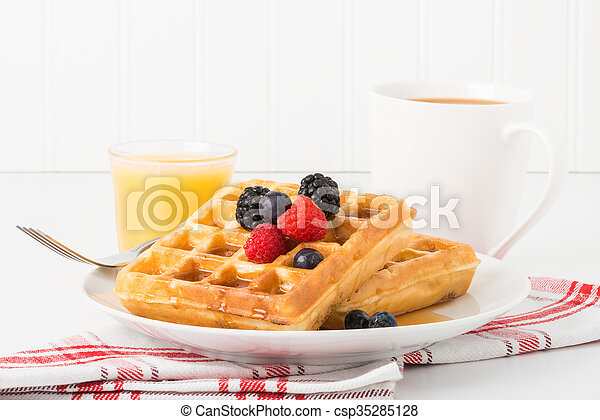 Waffles and Fruit - csp35285128