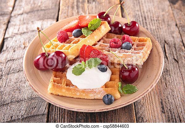 waffles and fruit - csp58844603
