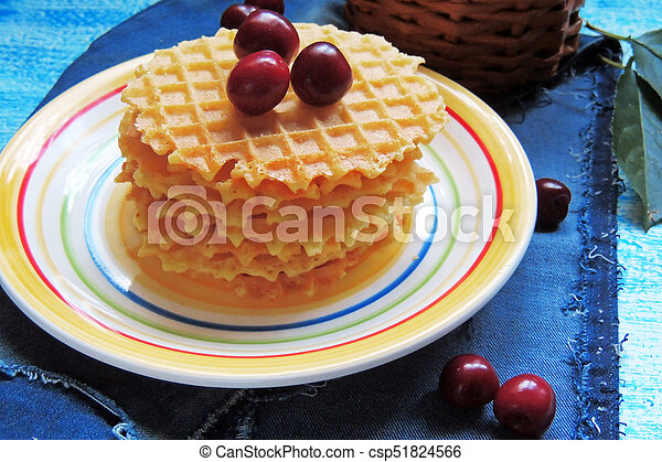 waffles and fruit, strawberries and cherries - csp51824566