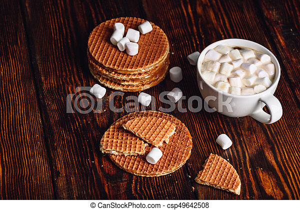Waffles and Hot Cocoa with Marshmallow. - csp49642508