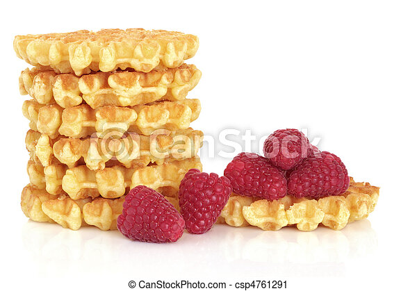 Waffles and Raspberry Fruit - csp4761291