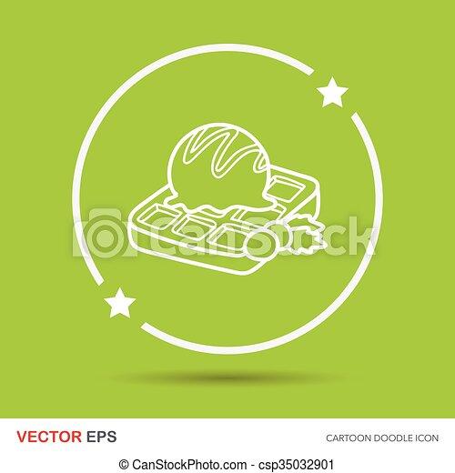 Waffles doodle - csp35032901