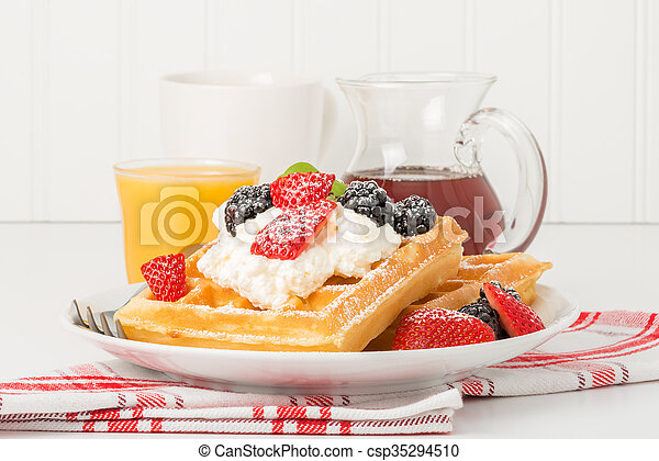 Waffles with Berries - csp35294510