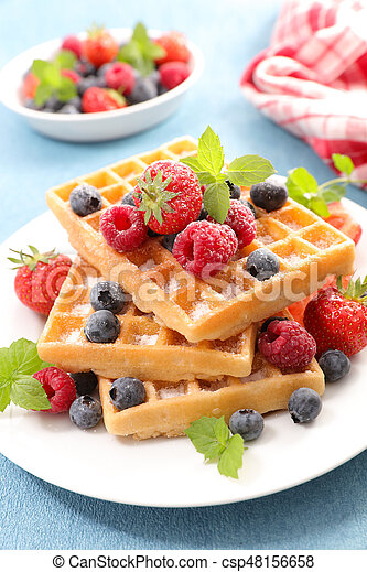 waffles with berry fruit - csp48156658