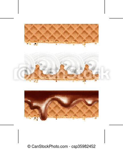 Waffles with chocolate and whipped cream - csp35982452