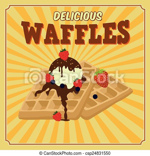 Waffles with chocolate, ice cream and berries retro poster - csp24831550