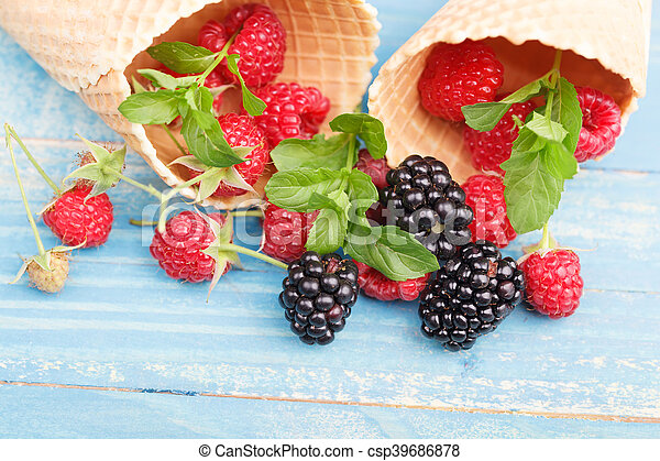 Waffles with fresh berry fruit - csp39686878