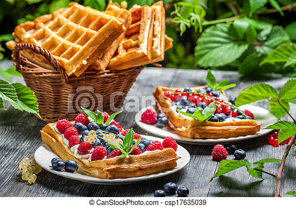 Waffles with fresh collected berry fruit - csp17635039
