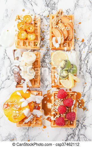 Waffles with fresh fruits - csp37462112