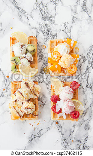 Waffles with fresh fruits - csp37462115