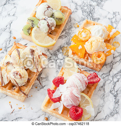 Waffles with fresh fruits - csp37462118