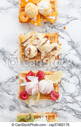 Waffles with fresh fruits - csp37462176