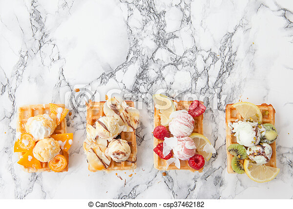 Waffles with fresh fruits - csp37462182