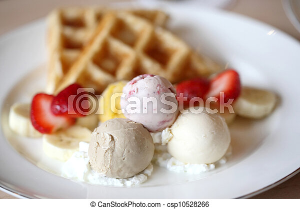 Waffles with ice cream and fruits - csp10528266