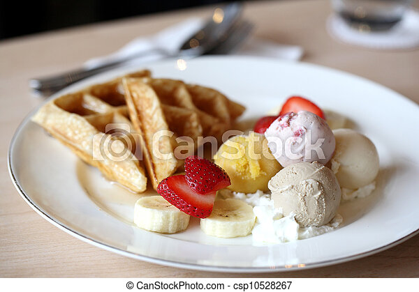 Waffles with ice cream and fruits - csp10528267