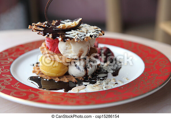 Waffles with ice cream and fruits - csp15286154