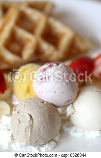 Waffles with ice cream and fruits - csp10528344