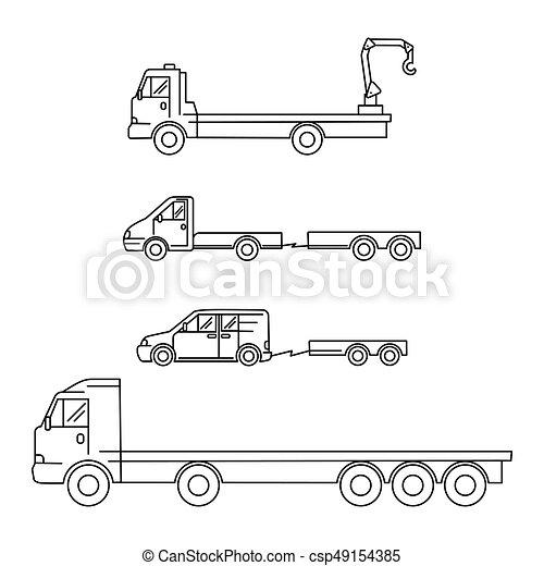 waggon, kunst, heiligenbilder, satz, -, abbildung, vektor, minivan, transport, kranservice, lastwagen, linie, anhänger - csp49154385