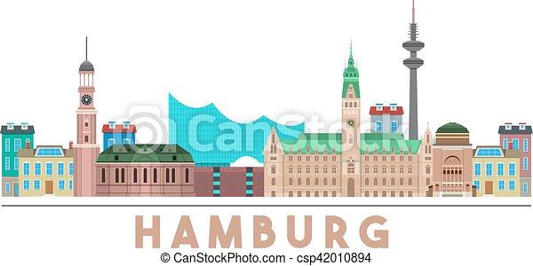wahrzeichen skyline hamburg ausf hrlich bunte eps vektoren suche clipart illustration. Black Bedroom Furniture Sets. Home Design Ideas