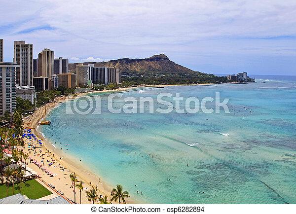 Waikiki Beach, Diamond Head on Oahu - csp6282894