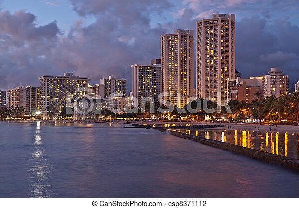 Waikiki Beach, Oahu Island Hawaii, cityscape sunset - csp8371112