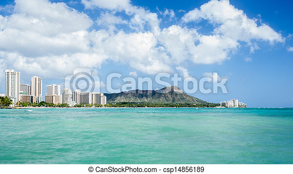 Waikiki beach with Diamond head and hotels background - csp14856189