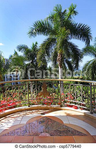 wailea, gård, träd., tillflykt, palm, storslagen, domstol, synhåll, balkong - csp5779440